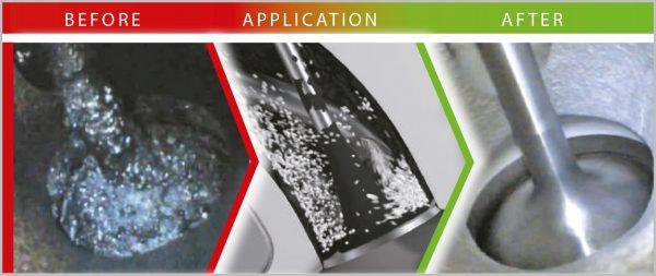Granulat do czyszczenia kanałów dolotowych oraz zaworów microflex® 933 - przed czyszczeniem/po czyszczeniu