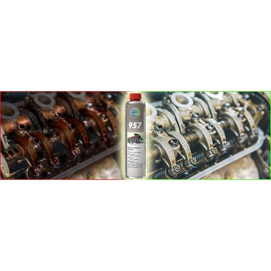 Płukanka do silnika microflex® PREMIUM 957 - 400ml - przed i po aplikacji